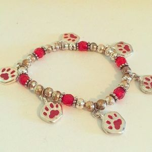Red and Silver Paw charm Bracelet